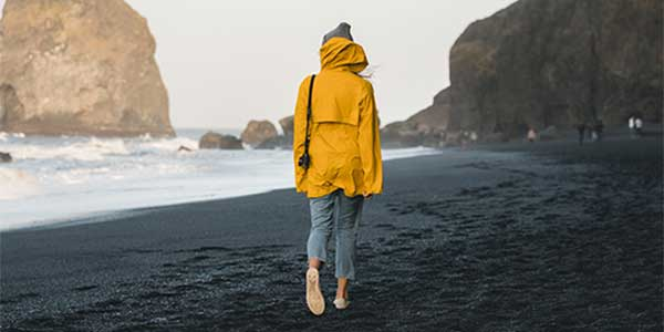 woman in a beach yellow rain jacket purchase